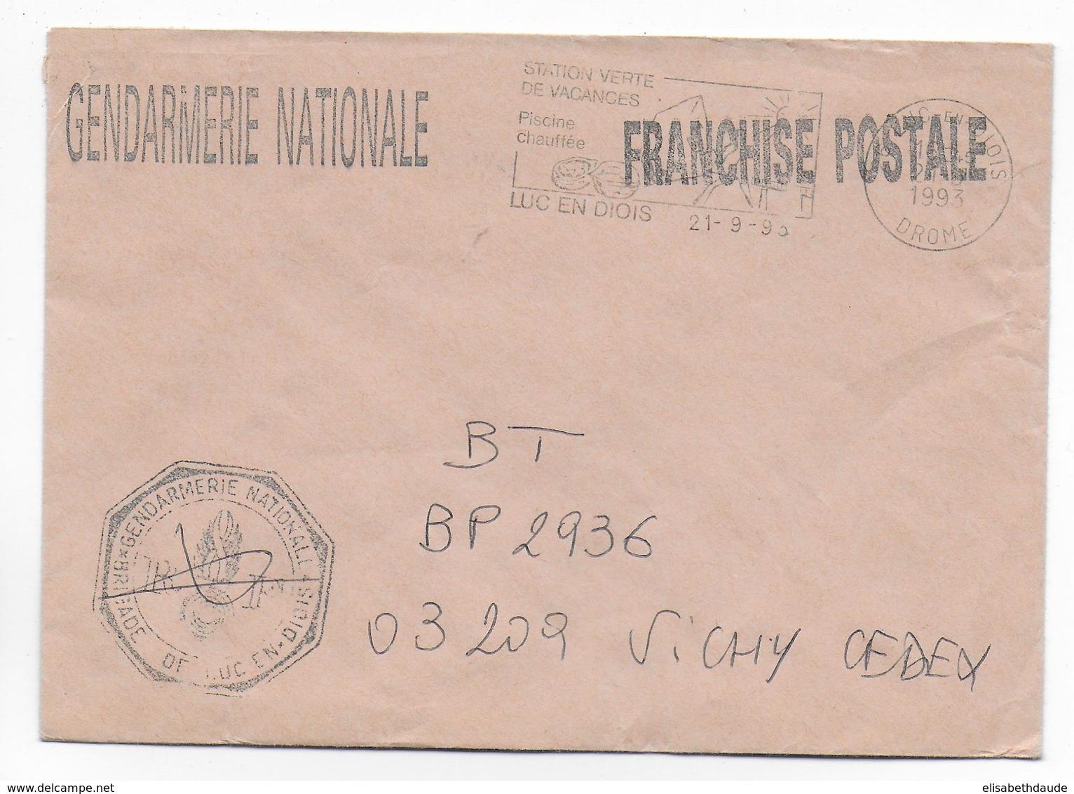 1993 - GENDARMERIE - ENVELOPPE En FRANCHISE De LUC EN DIOIS (DROME) - Marcophilie (Lettres)