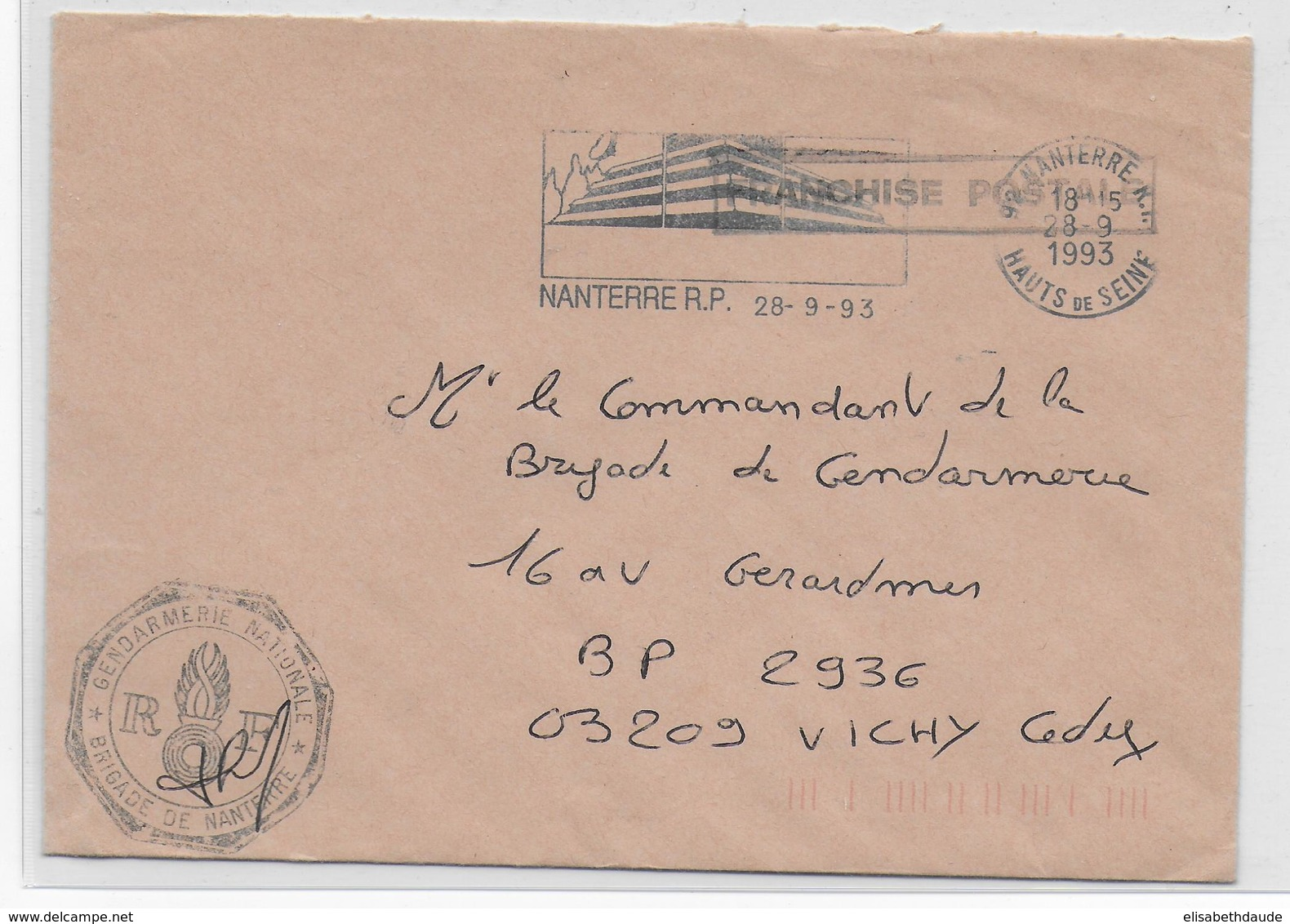 1993 - GENDARMERIE - ENVELOPPE En FRANCHISE De NANTERRE (HAUTS DE SEINE) - Marcophilie (Lettres)