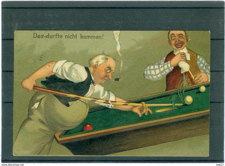 Relief - Gaufrée - Embossed - Prage - Caricature - Bilard - TBE - Cartes Postales