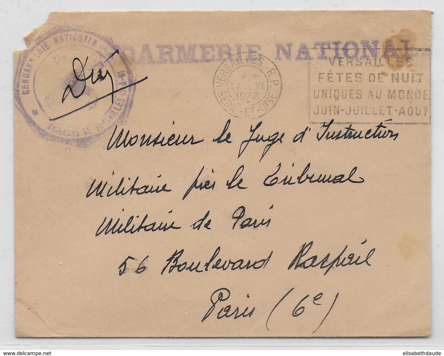 1938 - GENDARMERIE - ENVELOPPE En FRANCHISE De VERSAILLES - Marcophilie (Lettres)