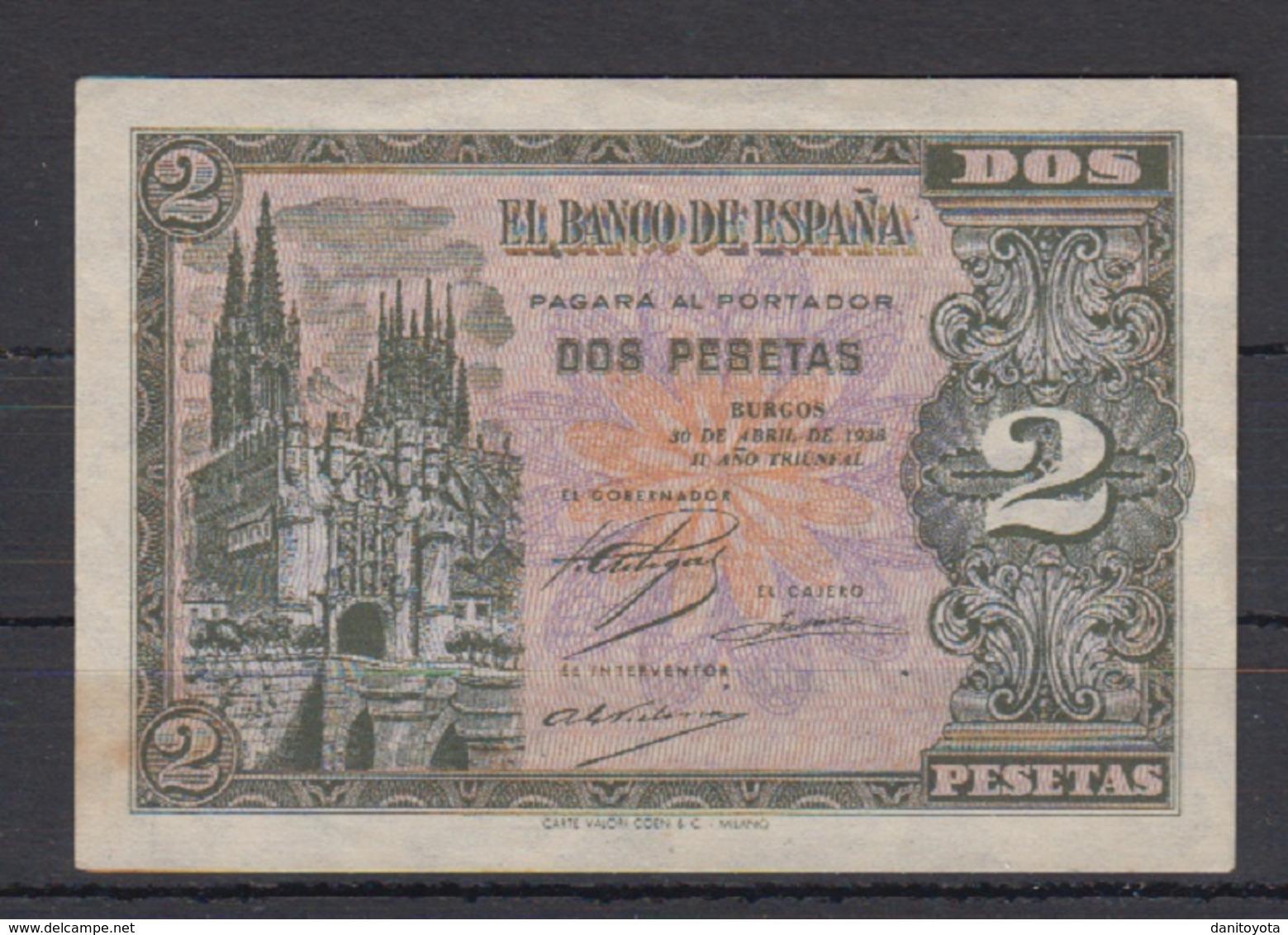 EDIFIL 429a.   2 PTAS 30 DE ABRIL DE 1938 SERIE D.   CATEDRAL DE BURGOS. - 1-2 Pesetas