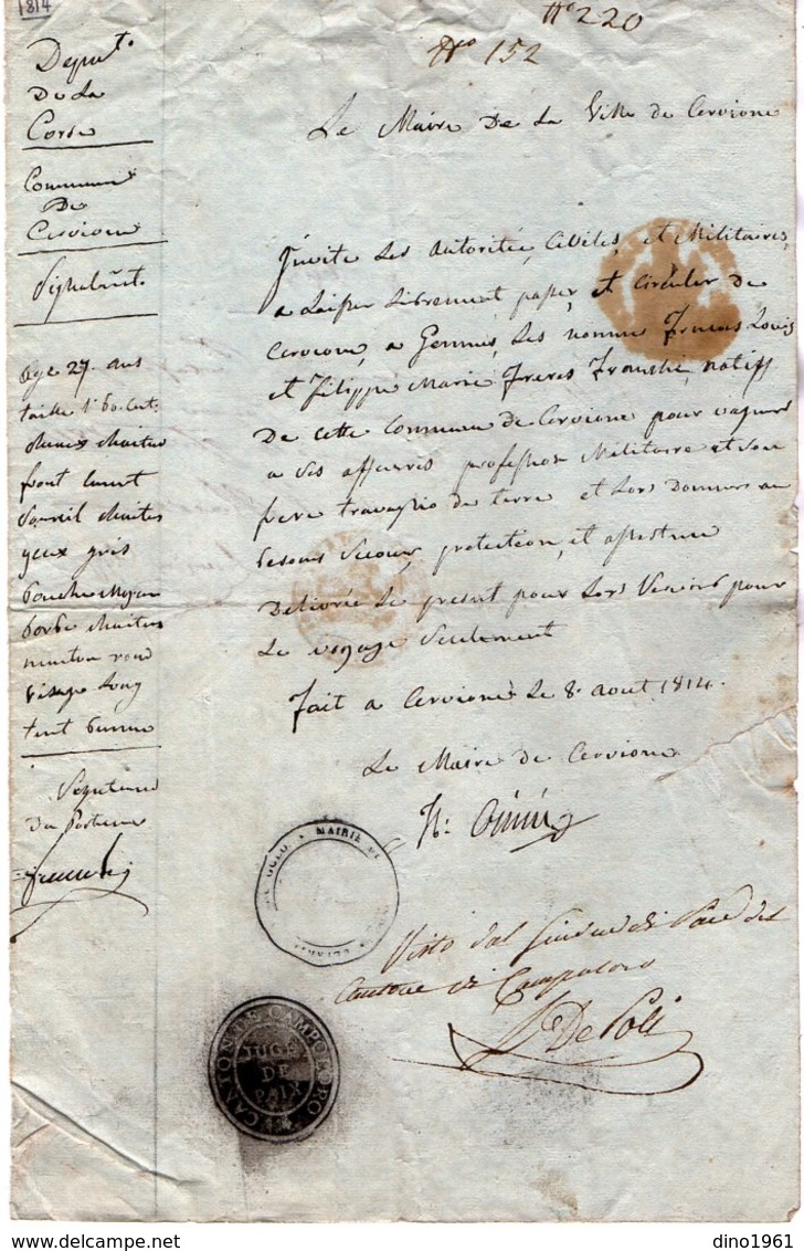 VP14.578 - Empire - Commune De CERVIONE 1814 - Laissez - Passer Pour L'Italie ? - Collections