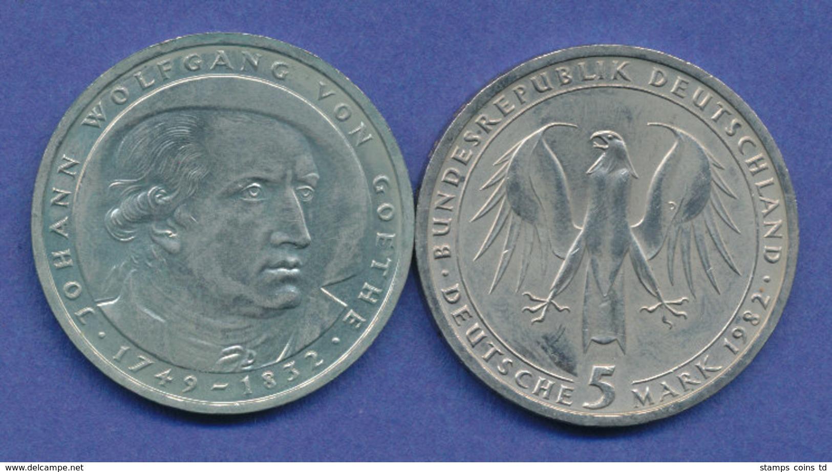 Bundesrepublik 5DM Gedenkmünze 1982, Johann Wolfgang Von Goethe - 5 Mark