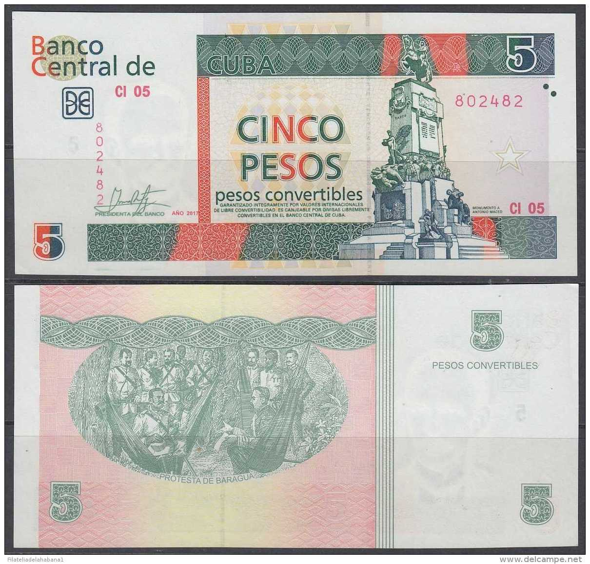 2017-BK-2 CUBA 2017 5$ Cuc UNC ANTONIO MACEO. - Cuba