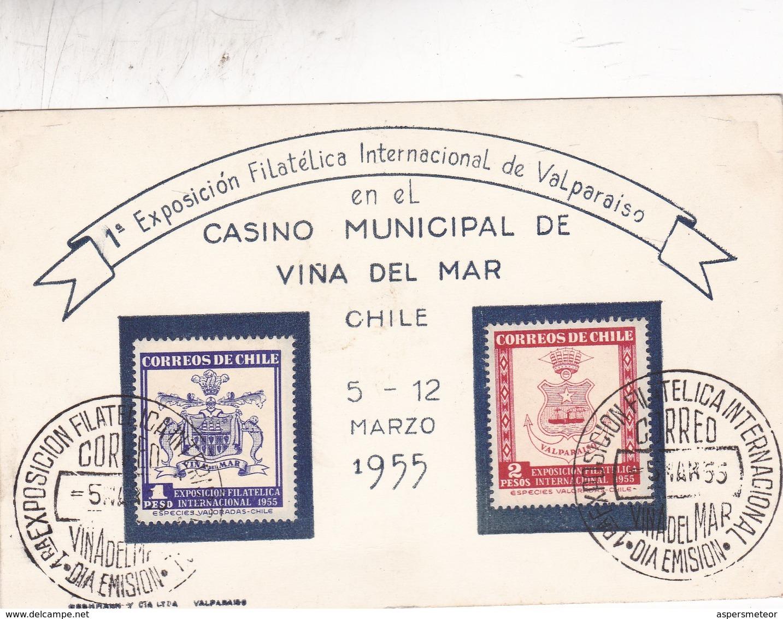 CHILE. SPECIAL COVER SUR POSTALE. EXPO INTERNACIONAL VALPARAIZO EN CASINO MUNICIPAL DE VIÑA DEL MAR AÑO 1955 - BLEUP - Chile