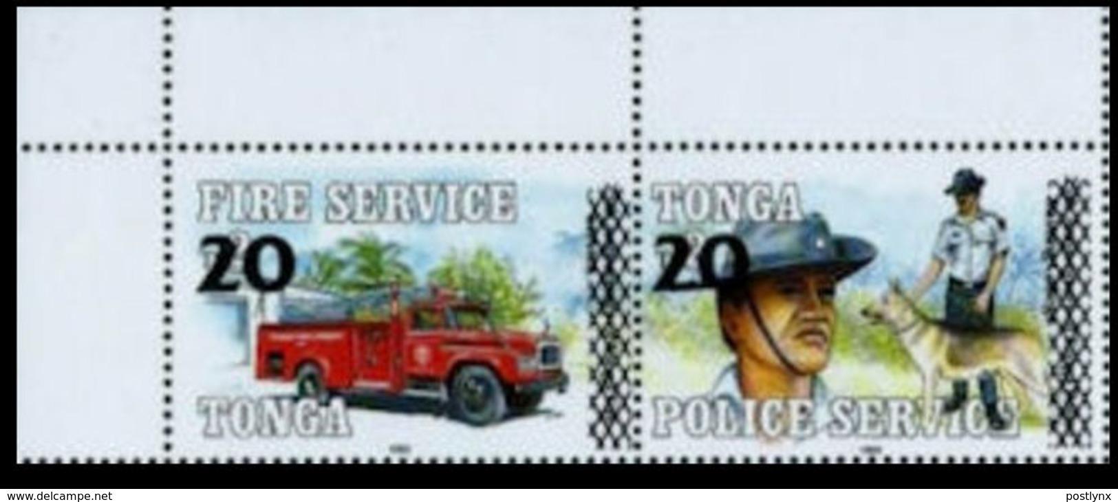 TONGA 1997 Fireman Police Dog Truck CORNER.PAIR OVPT:new Value Se-tenant - Tonga (1970-...)