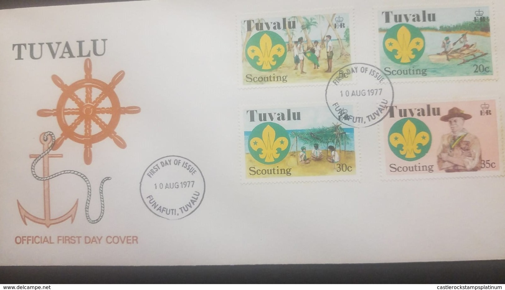 O) 1977 TUVALU, SCOUTS-LORD BADEN POWELL, SWEARING IN CEREMONY AND SCOUT EMBLEM-OUTRIGGER-CANOE-UNDER SUN SHELTER, FDC X - Tuvalu