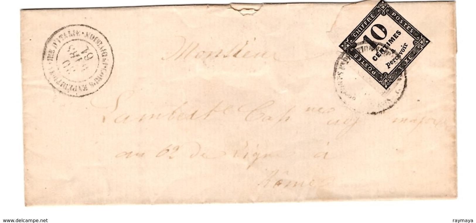 Lettre 1861 - Postage Due