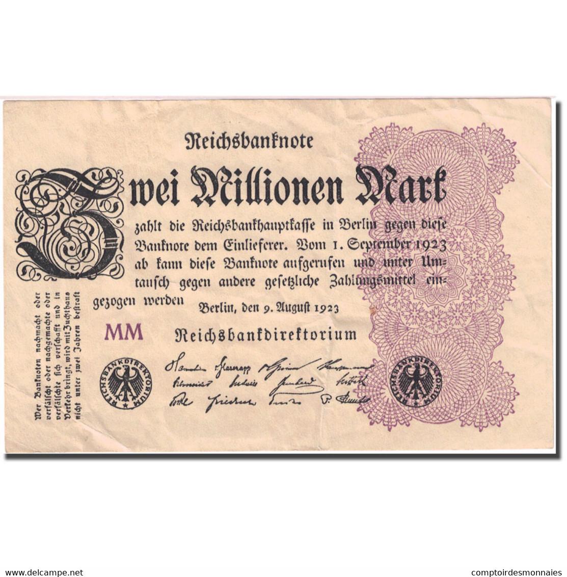 Billet, Allemagne, 2 Millionen Mark, 1923, 1923-08-09, KM:103, TTB - [ 3] 1918-1933 : Repubblica  Di Weimar