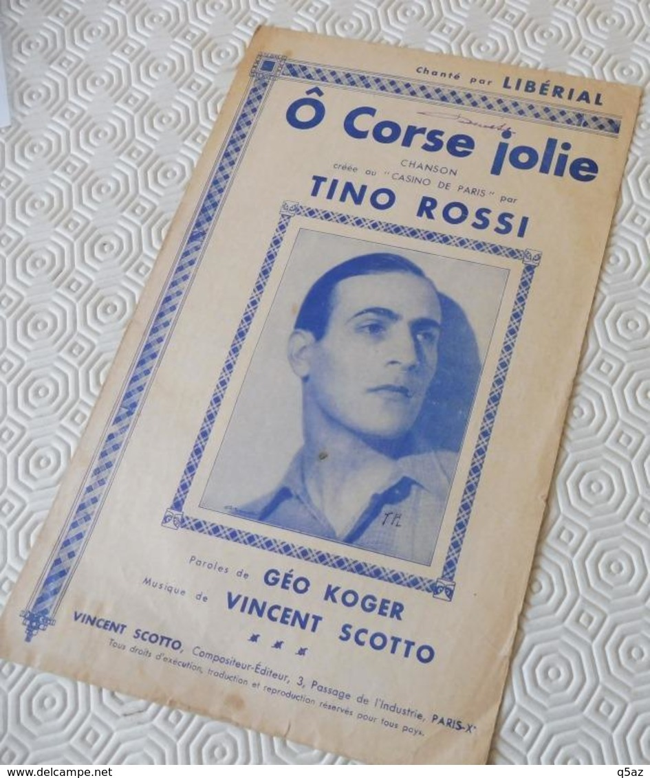 Fp1.j- Partition O CORSE JOLIE Tino Rossi Geo Koger Vincent Scotto Liberial Casino De Paris - Musique & Instruments