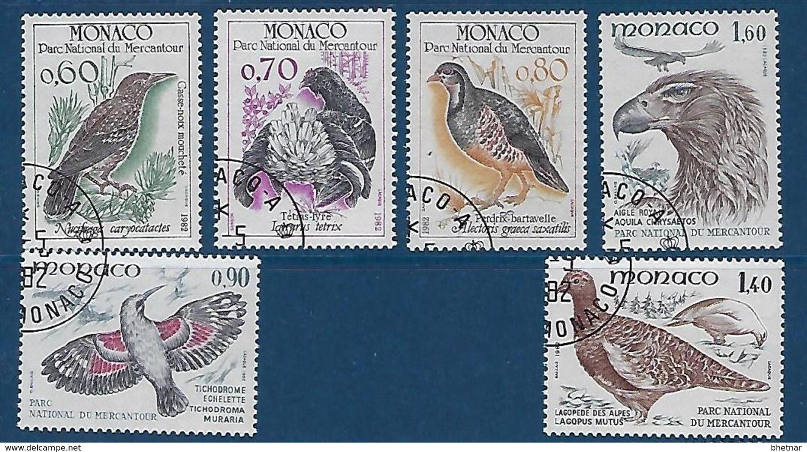 """Monaco YT 1316 à 1321 """" Oiseaux Du Mercantour """" 1982 Oblitéré - Monaco"""