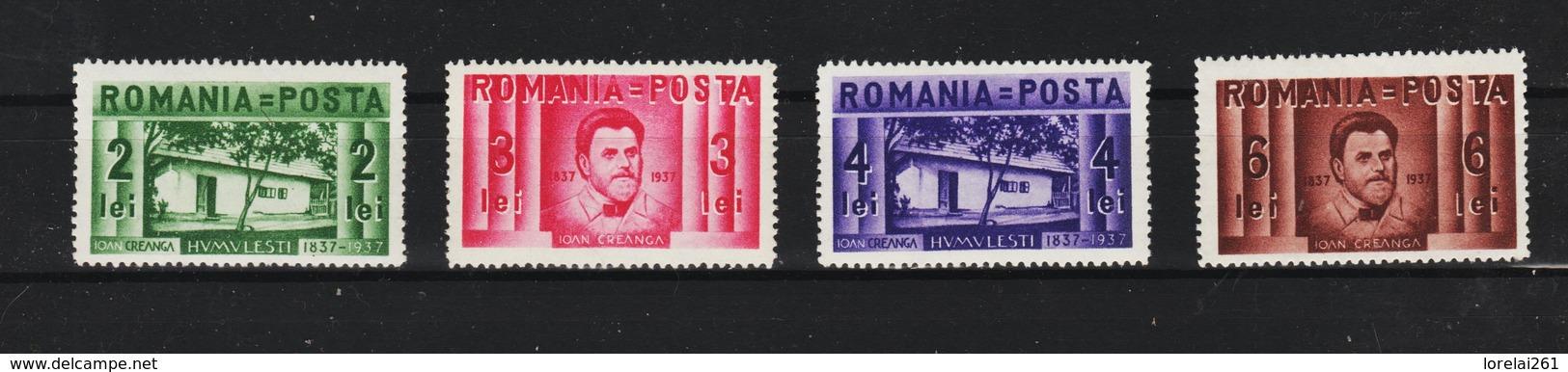1937 -  L Ecrivain Ion Creanga Mi No 524/527   MNH - Ungebraucht