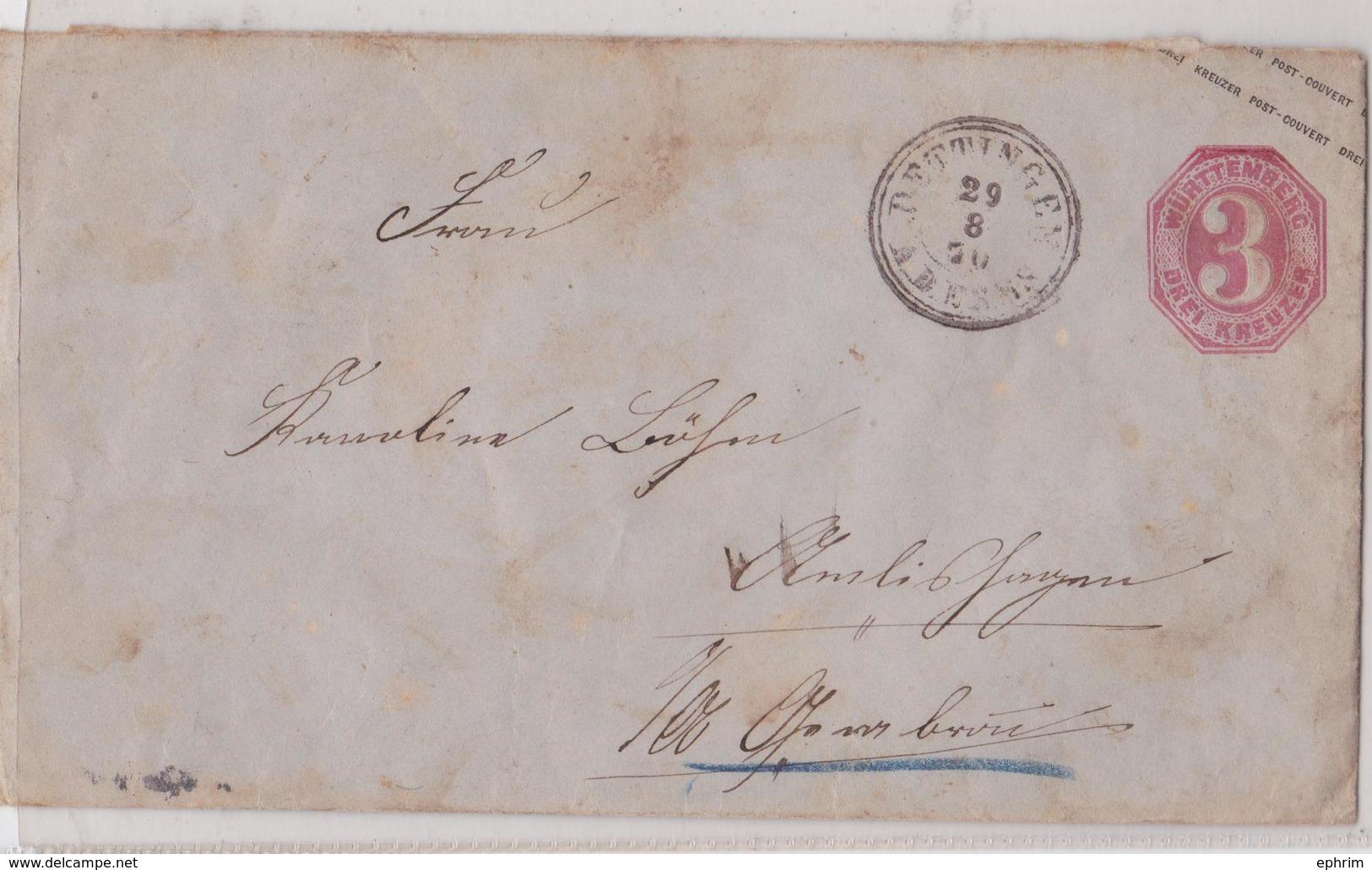 DETTINGEN WÜRTTEMBERG DREI KREUZER GANZSACHE BRIEF 29.08.1870 CRAISHEIM - Wurttemberg