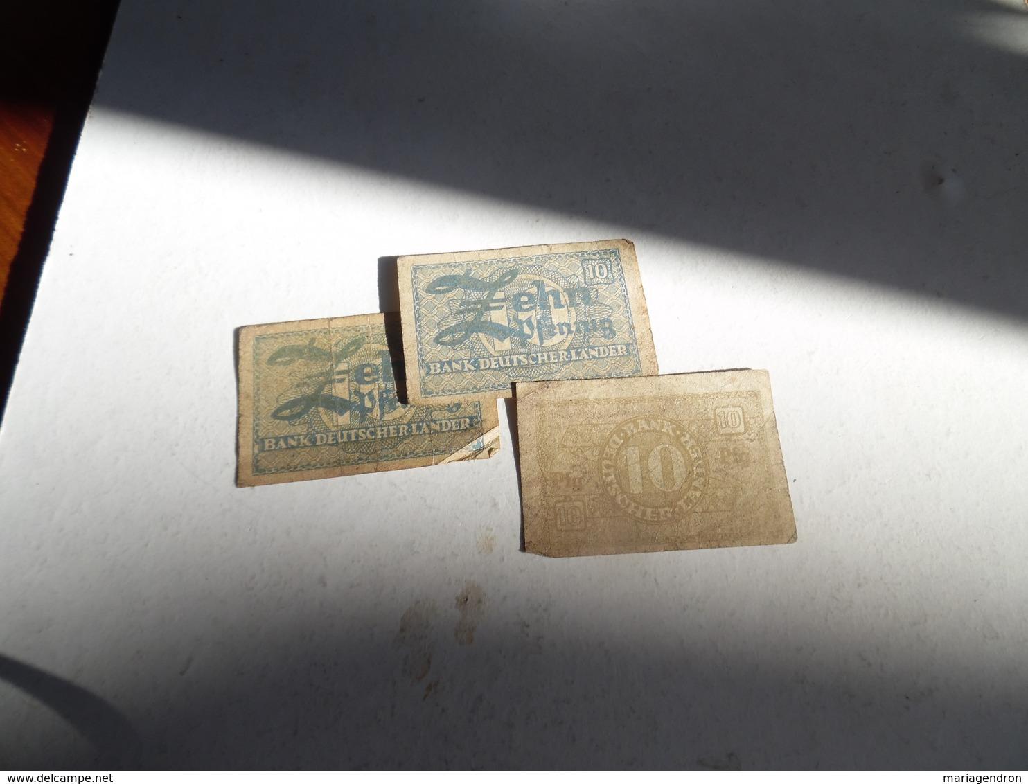 3 Billets D'Allemagne De 10 Pfennig - [ 5] 1945-1949 : Occupazione Degli Alleati