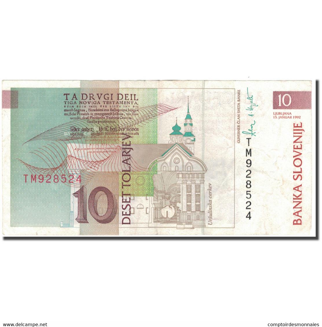 Billet, Slovénie, 10 Tolarjev, 1992-01-15, KM:11a, TTB - Slovénie