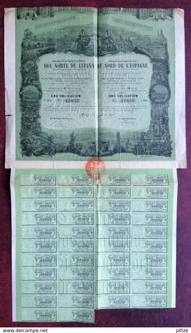 Compagnie Des Chemins De Fer Du Nord De L'Espagne . Obligation De 500 F . 1883 . Espana . Caminos De Hierro . - Chemin De Fer & Tramway