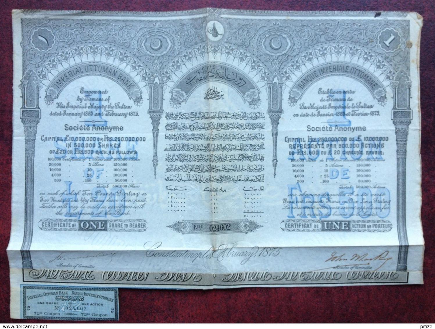 Banque Impériale Ottomane . Une Action De 500 F 1875 . Constantinople , Turquie . Rare . - Banque & Assurance