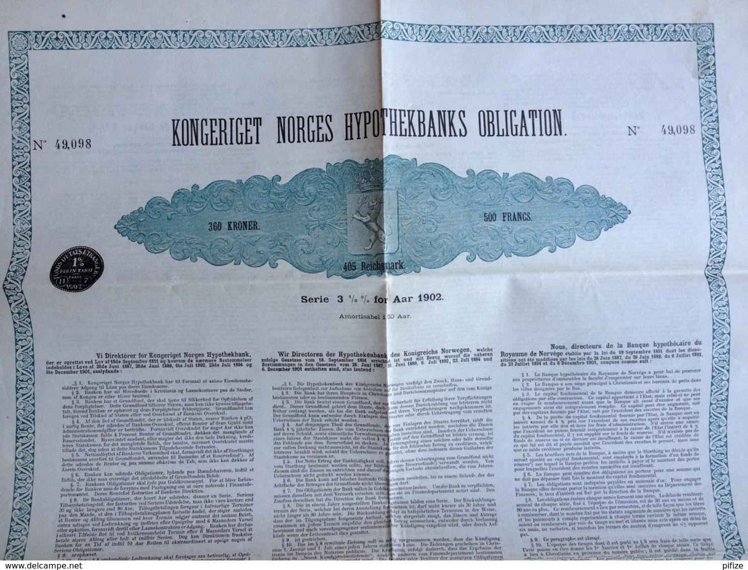 Kongeriget Norges Hypothekbanks Obligation . Banque Hypothécaire Du Royaume De Norvège . 500 F 3,5% 1902 . - Banque & Assurance