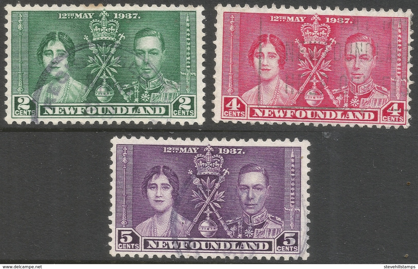 Newfoundland. 1937 KGVI Coronation. Used Complete Set SG 254-256 - Newfoundland