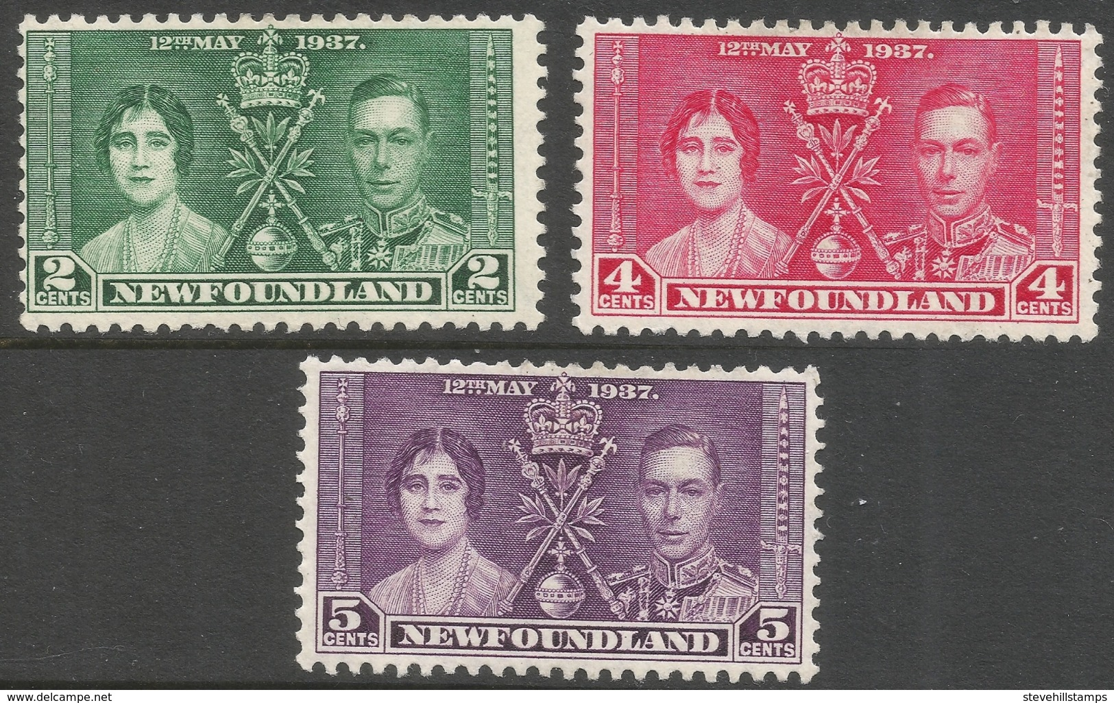Newfoundland. 1937 KGVI Coronation. MH Complete Set SG 254-256 - Newfoundland