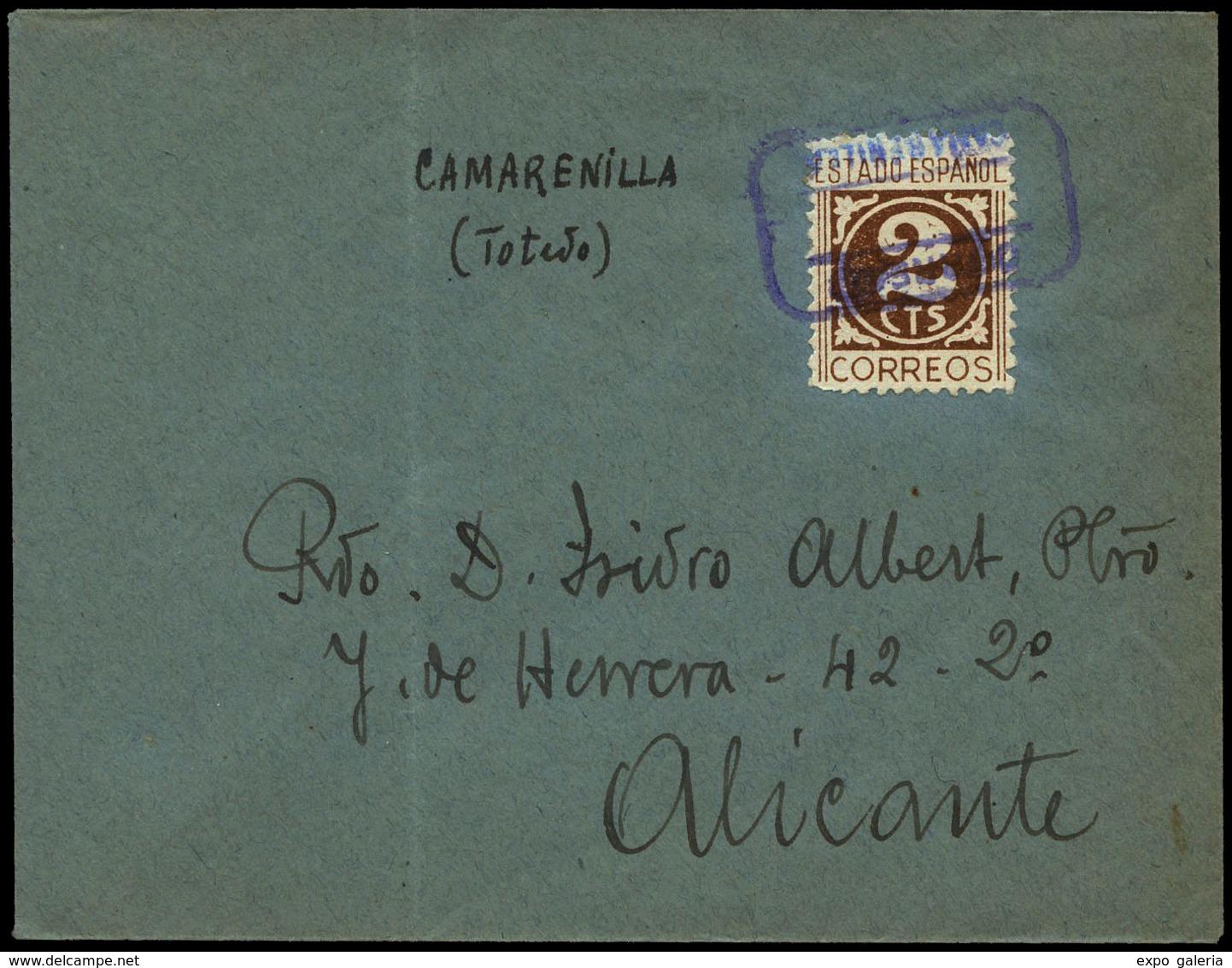 Ed. 819 - CAMARENILLA.Toledo. Carta Cda A Alicante. Carteria Especial.Lujo. - Espagne