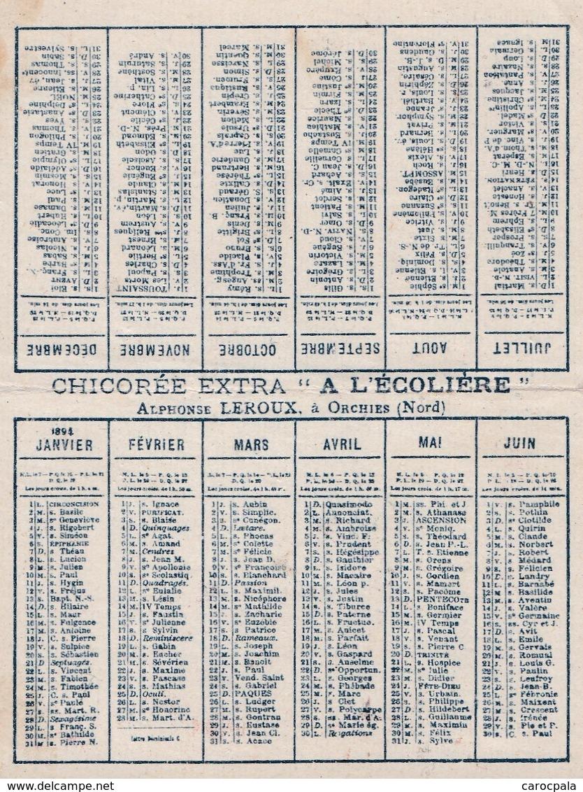 """Calendrier 1894 Chicorée Extra """" à L'écolière""""  Leroux Orchies - Calendriers"""