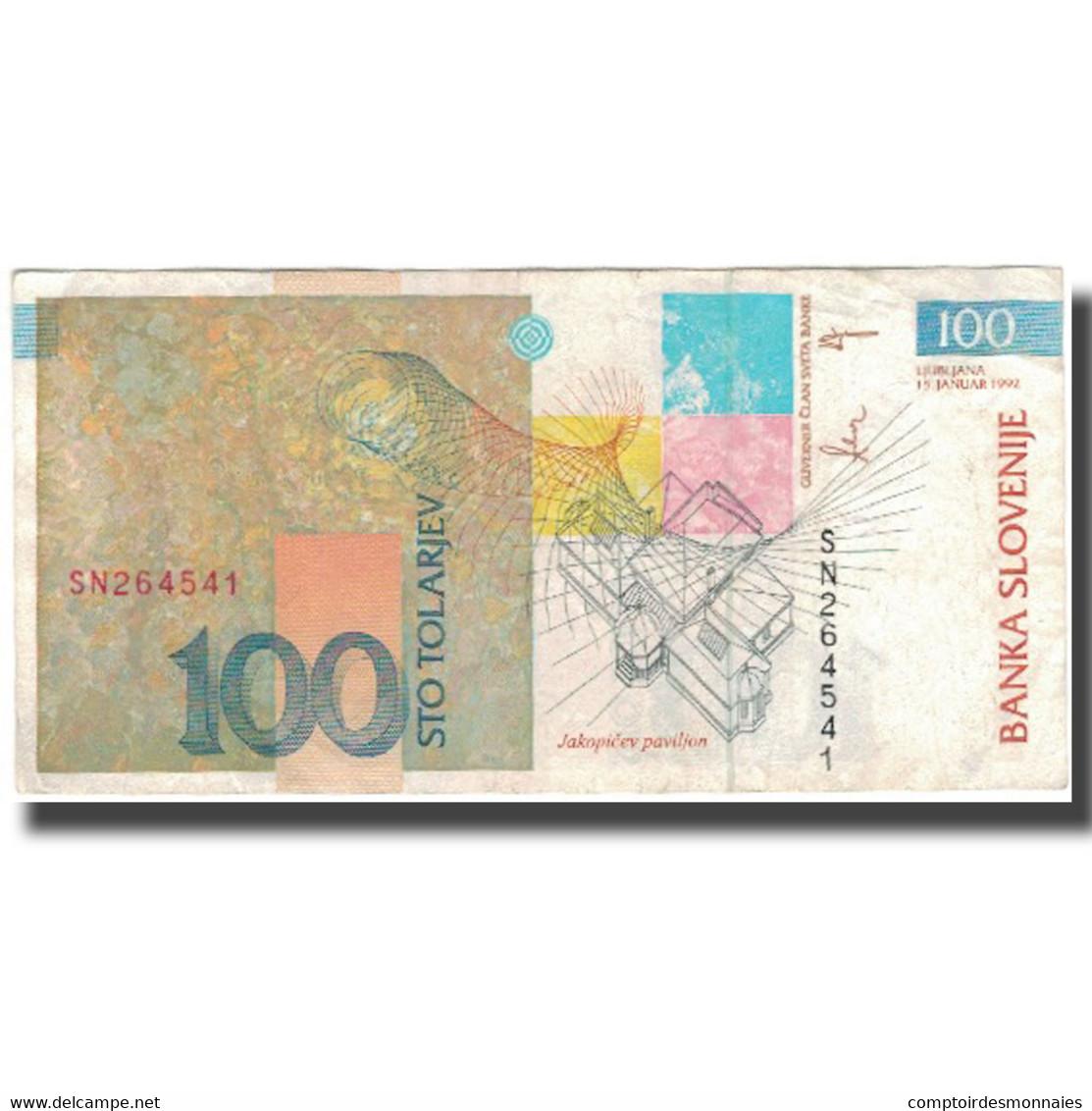 Billet, Slovénie, 100 Tolarjev, 1992-01-15, KM:14A, TTB - Slovénie