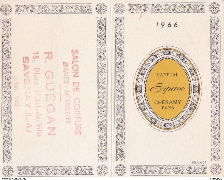 """Calendrier 1966 Parfum """"Cheramy"""" Parfumeur Paris (tampon Coiffeur à Savenay Loire Atlantique) - Petit Format : 1961-70"""
