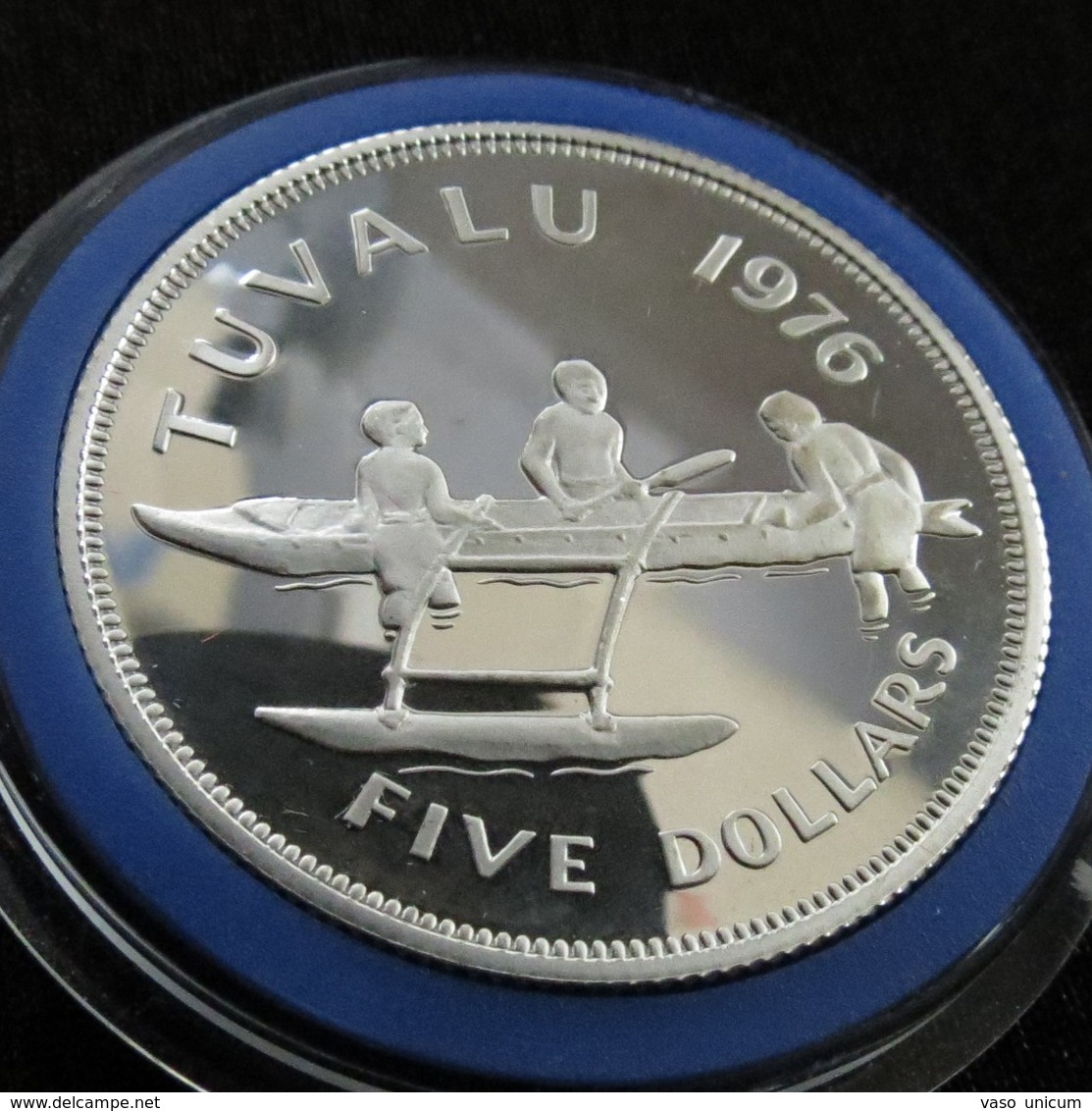 Tuvalu 5 $ 1976 Boat Silver Proof - Tuvalu