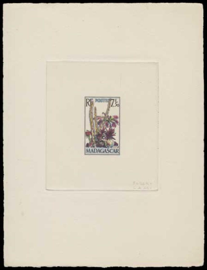 MADAGASCAR Epreuves  322 Epreuve D'artiste En Noir Aquarellée, Signée: Cactus Et Fleurs. - Other