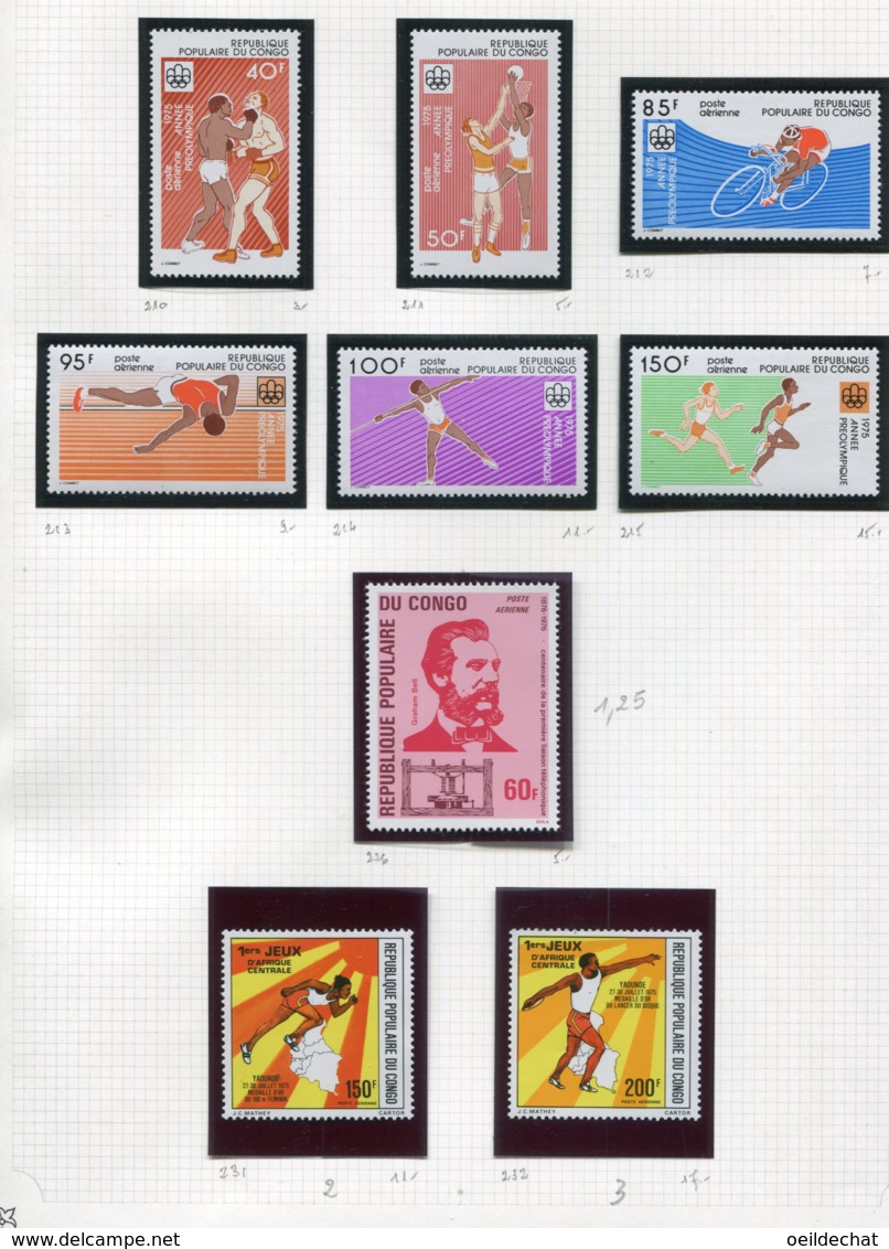 11271  CONGO  Collection Vendue Par Page  PA 210/5, 226, 231/2 **   1975-76  TB/TTB - Congo - Brazzaville