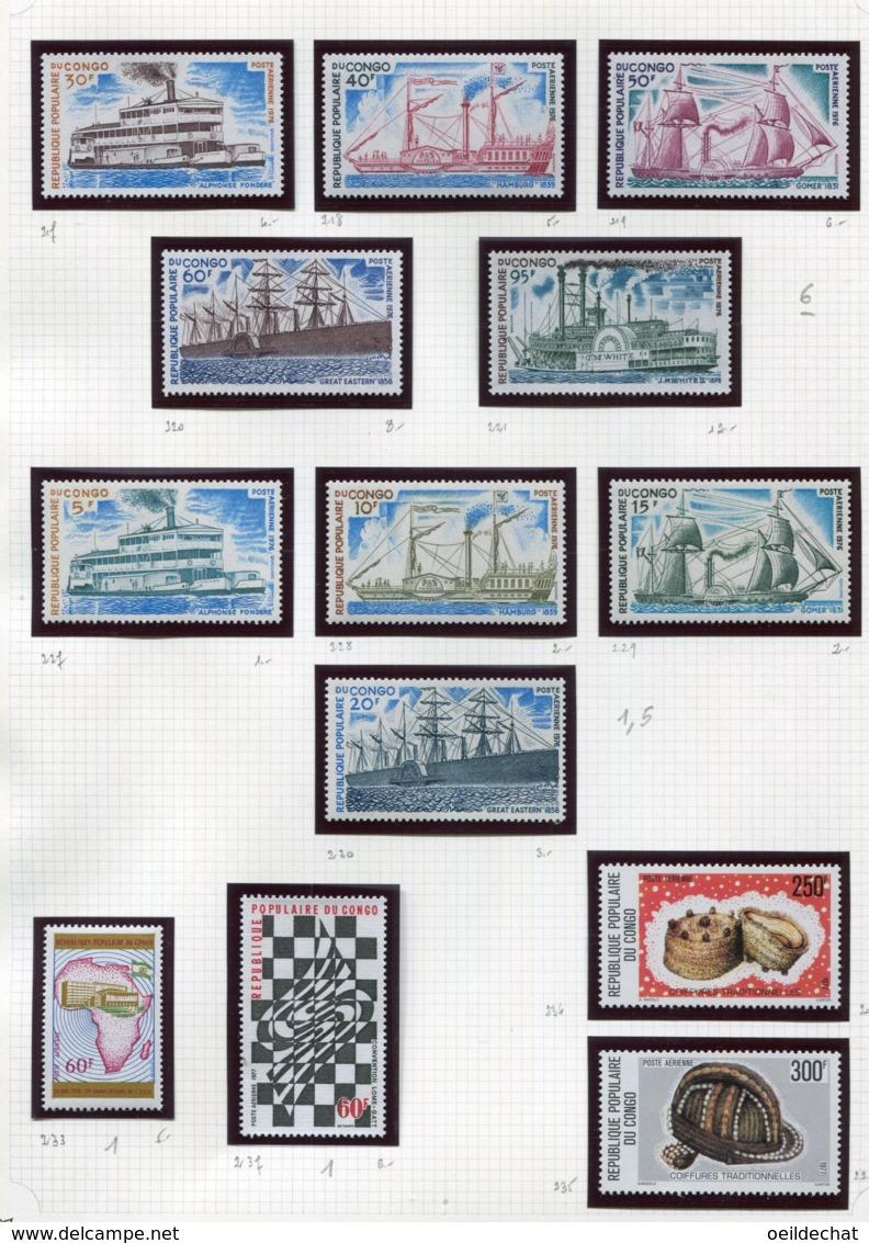 11273  CONGO  Collection Vendue Par Page  PA 217/21, 227/30,233,234/5,237 **   1976  TB/TTB - Congo - Brazzaville