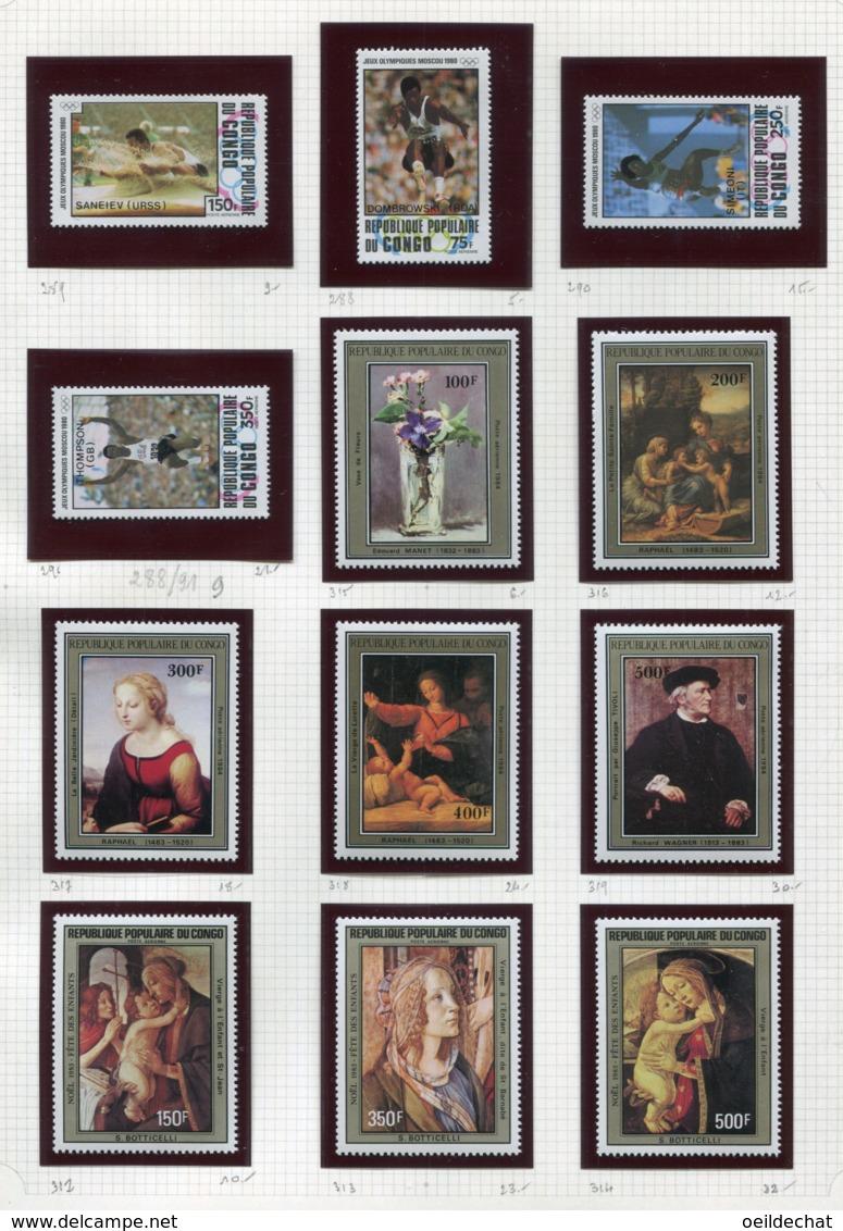 11274  CONGO  Collection Vendue Par Page  PA 288/91, 312/4, 315/9 **   1980-84  TB/TTB - Collections