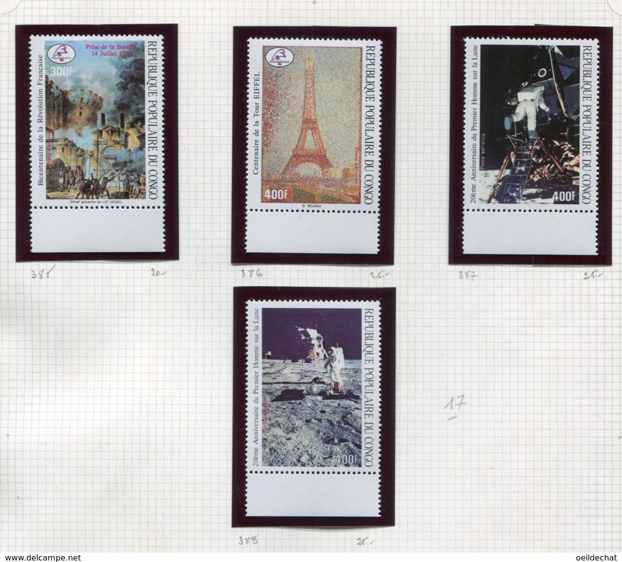 11276  CONGO  Collection Vendue Par Page  PA 385/8 **   1989  TB/TTB - Congo - Brazzaville