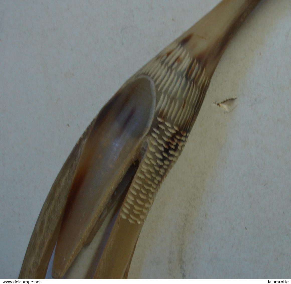Jo. 3. Paires De Cornes De Zébus ? Travaillées En Forme D'oiseaux - Art Africain