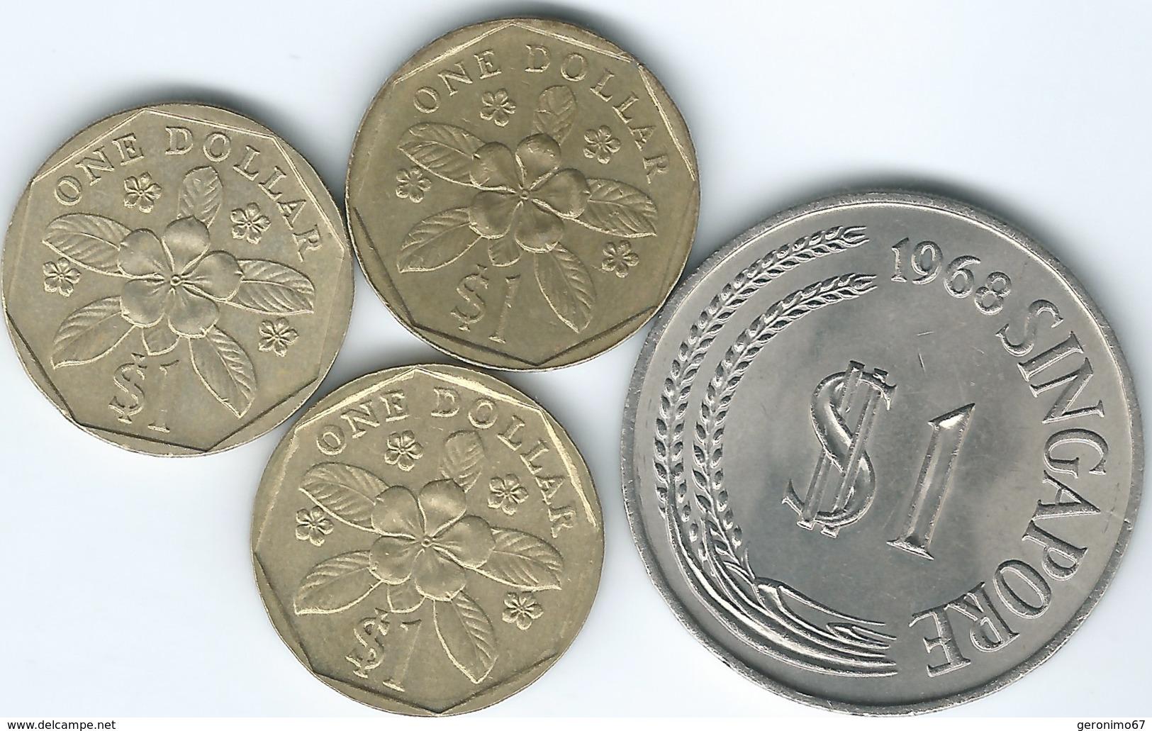 Singapore - 1 Dollar - 1968 (KM6) 1987 (KM54) 1989 (ribbon Upwards - KM54b) 1997 (ribbon Downwards - KM103) - Singapore