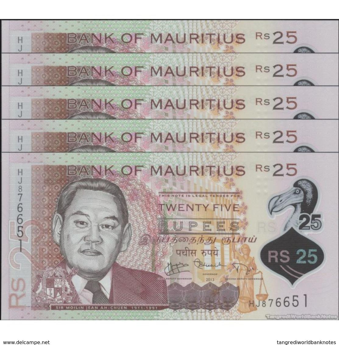 TWN - MAURITIUS 64 - 25 Rupees 2013 DEALERS LOT X 5 - Polymer - Prefix HJ UNC - Maurice