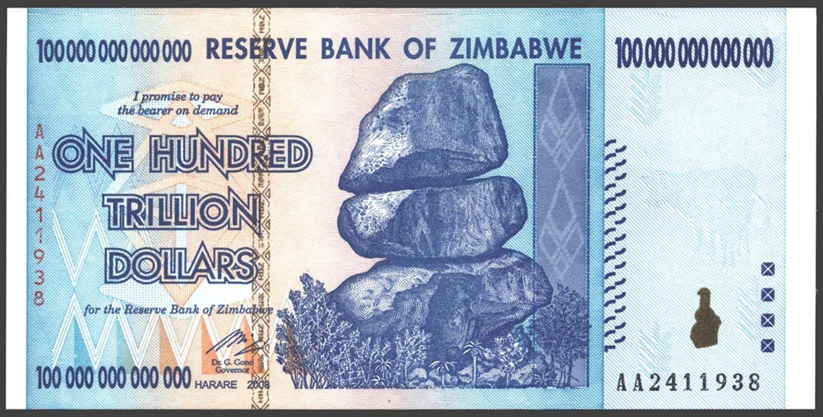 ZIMBABWE BANKNOTE, 100 000 000 000 000 DOLLARS, 2008, UNC - Zimbabwe