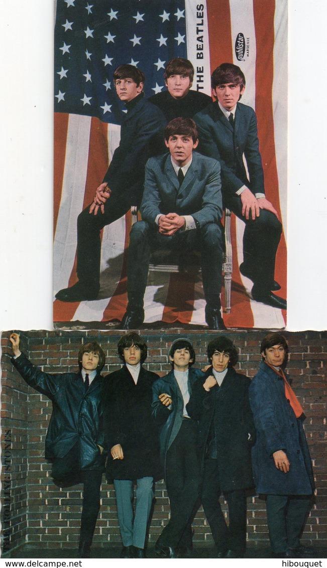 2 Photos Des Pates Milliat Frères, Les Beatles Et Un Autre Groupe, 10 X 7 Cm - Reproductions