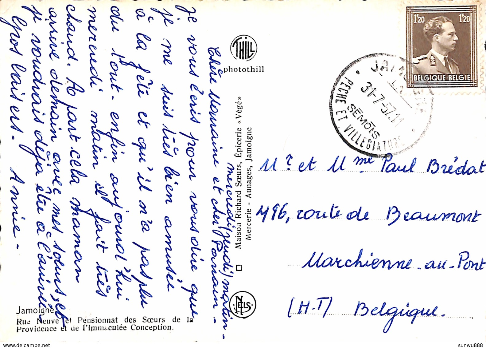 Jamoigne - Rue Neuve Et Pensionnat Des Soeurs De La Providence (Maison Richard Soeurs, Epicerie Végé 1957) - Chiny