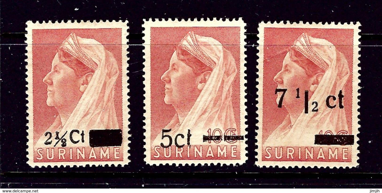 Surinam 181-83 MH 1945 Surcharges  Brown Gum - Surinam
