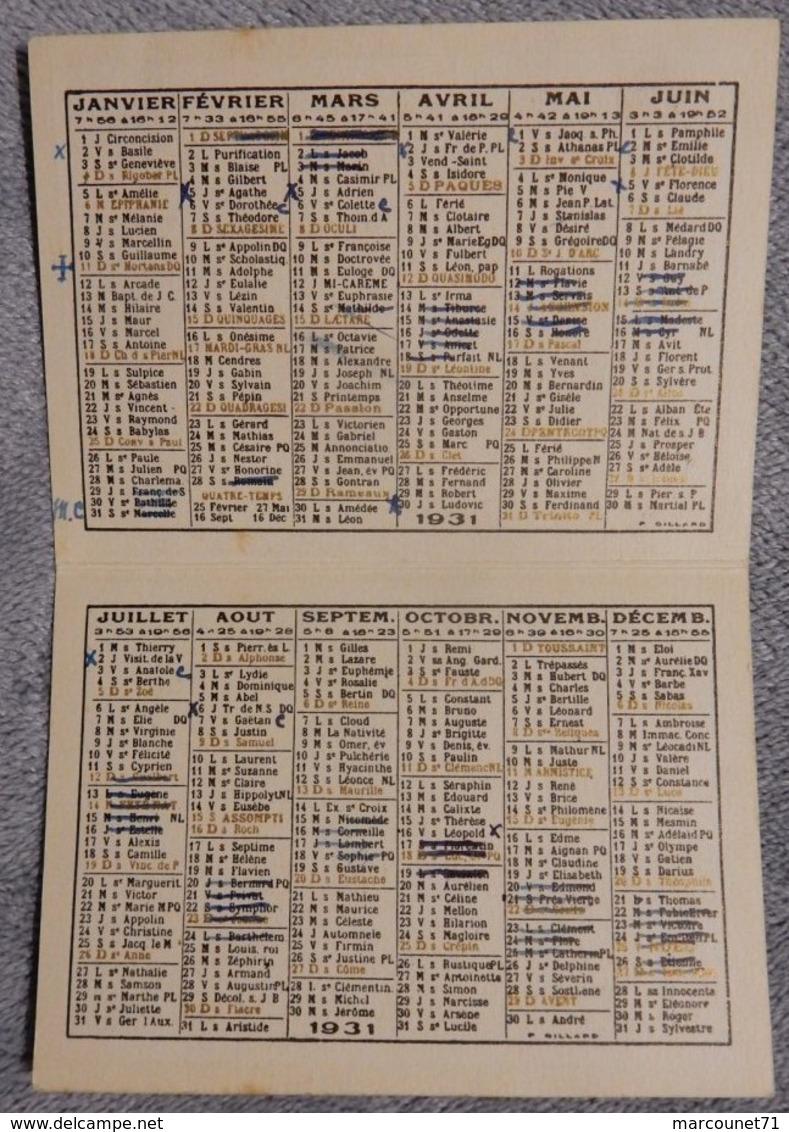 Ancien Calendrier De Poche Petit Format 1931 Orfèvrerie Christofle R Lassuze Lyon - Calendriers