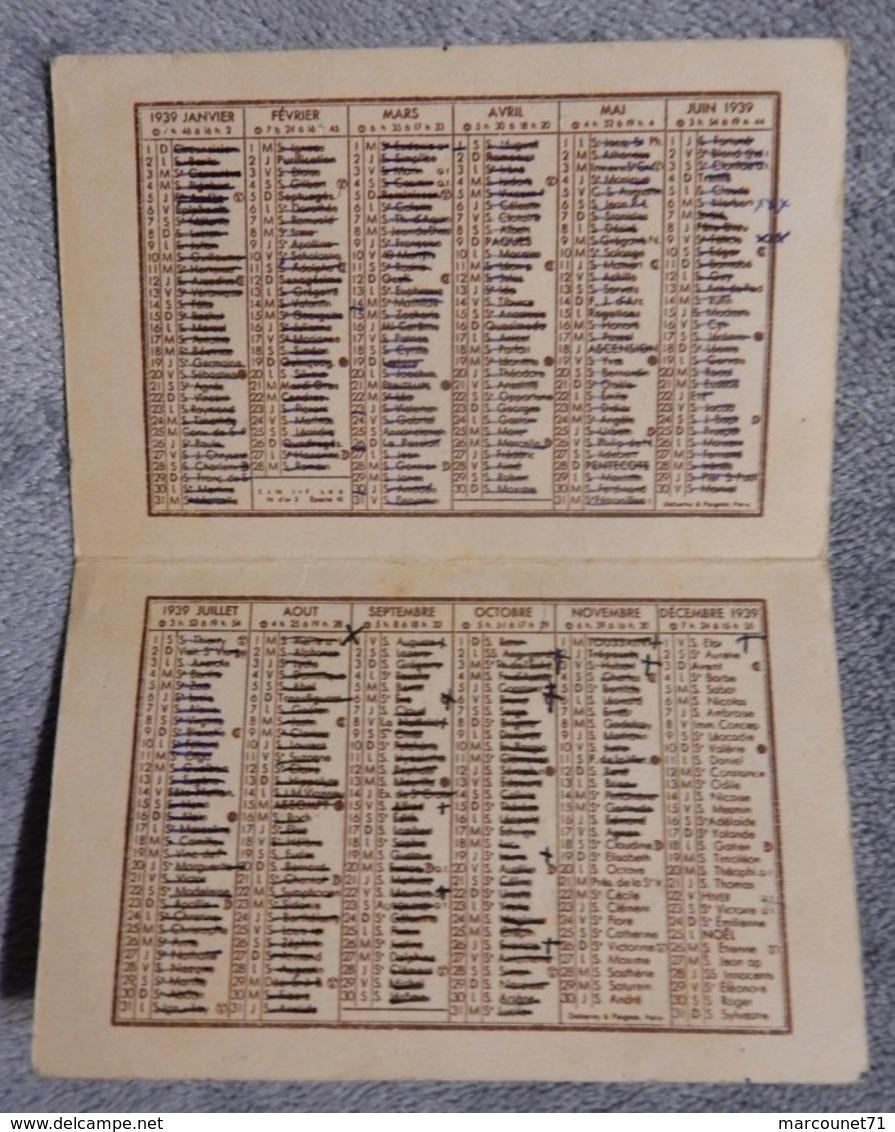 Rare Et Ancien Calendrier De Poche 1939 Librairie Espalion Dessin Style Germaine Bourret Enfant Tacot Jouet - Calendriers