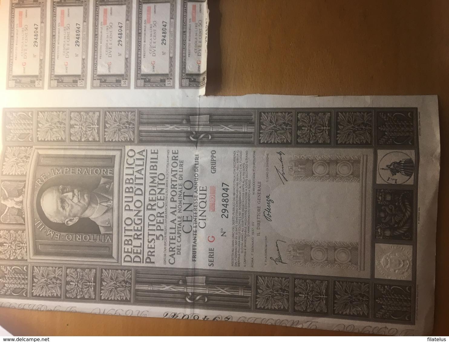 DEBITO PUBBLICO DEL REGNO D'ITALUA-CAPIRALE NOMINALE DI LIRE 100-ROMA-1-1-1937 - Azioni & Titoli