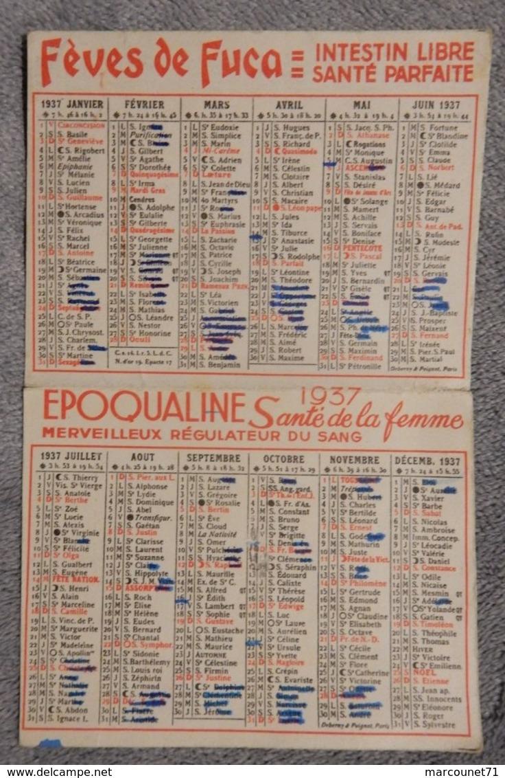 Rare Et Ancien Calendrier De Poche 1937 Jeune Femme Art Déco Époqualine Santé Femme Pharmacie Médicament Fève De Fuca - Calendriers