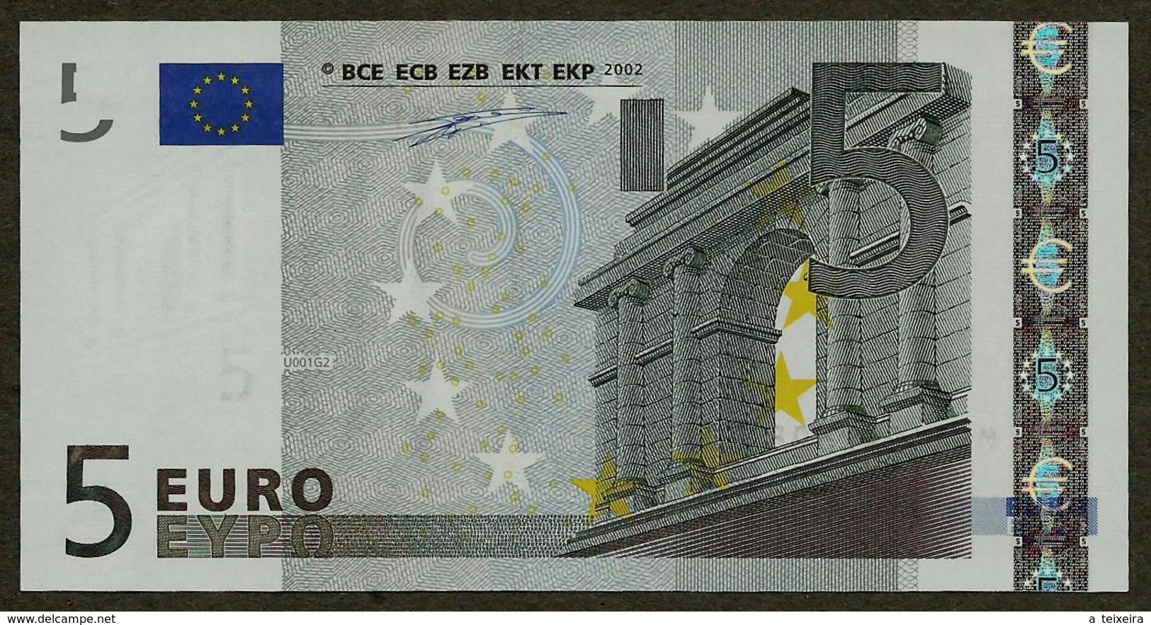 Portugal - 5 Euro - U001 G2 - M10494260896 - Duisenberg - UNC - EURO