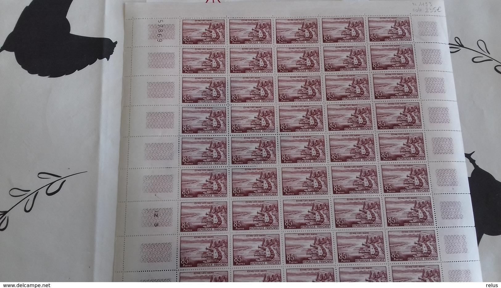FEUILLES COMPLETES YT 1192-1193 TTB ** ANNEE 1959 - Feuilles Complètes