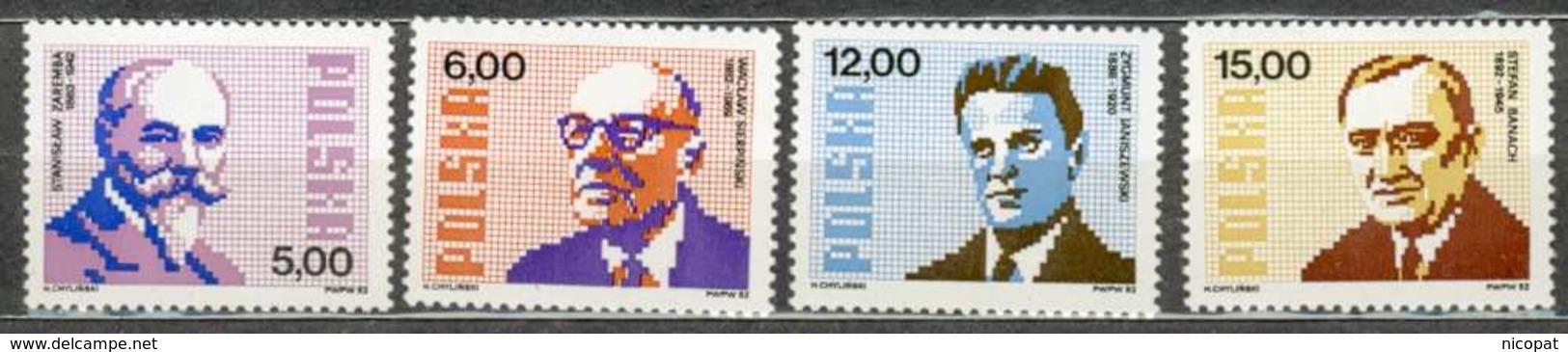 POLAND MNH ** 2646-2649 MATHEMATICIENS MATHEMATHIQUES ZAREMBA SIERPINSKI JANISZEWSKI BANACH - 1944-.... République
