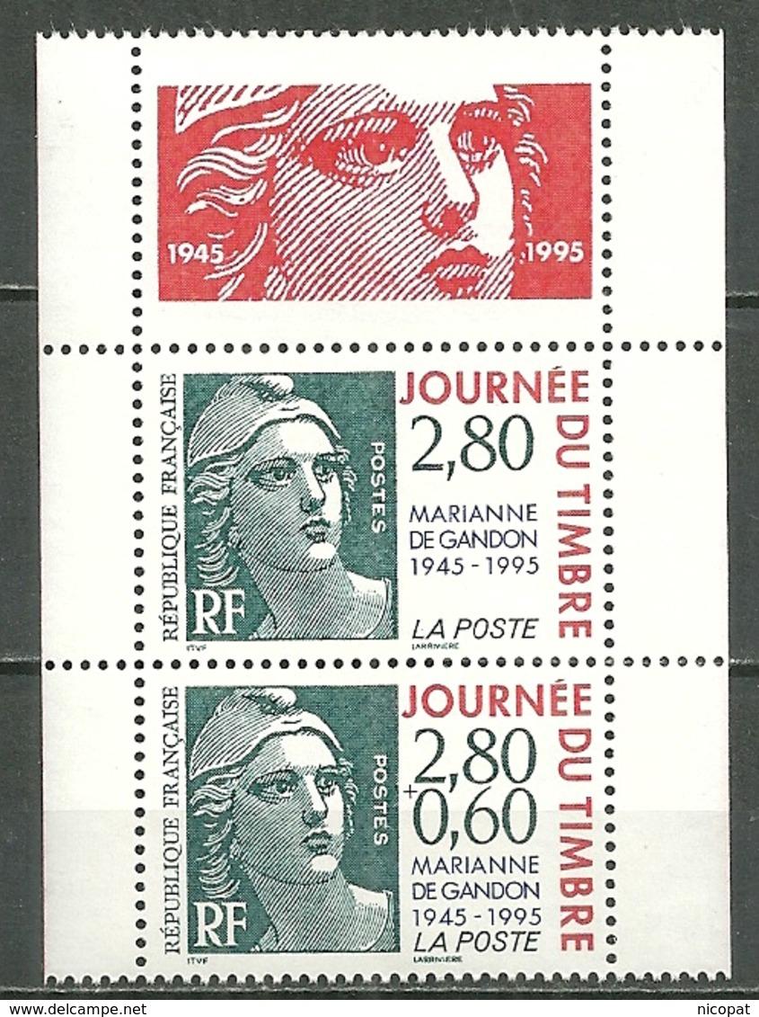 FRANCE MNH ** P2934Aa Paire émis En Carnet Marianne De Gandon Journée Du Timbre 1995 P 2934 A 2933a 2934 - Neufs