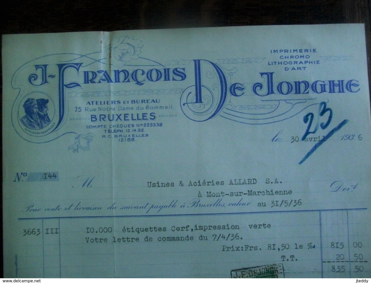 2 Stuks              Oude Faktuur  1936  J. FRANCOIS  DE  JONGHE   IMP .   CROMO  LITH .  D' ART  Met Fiscale Zegels - Printing & Stationeries
